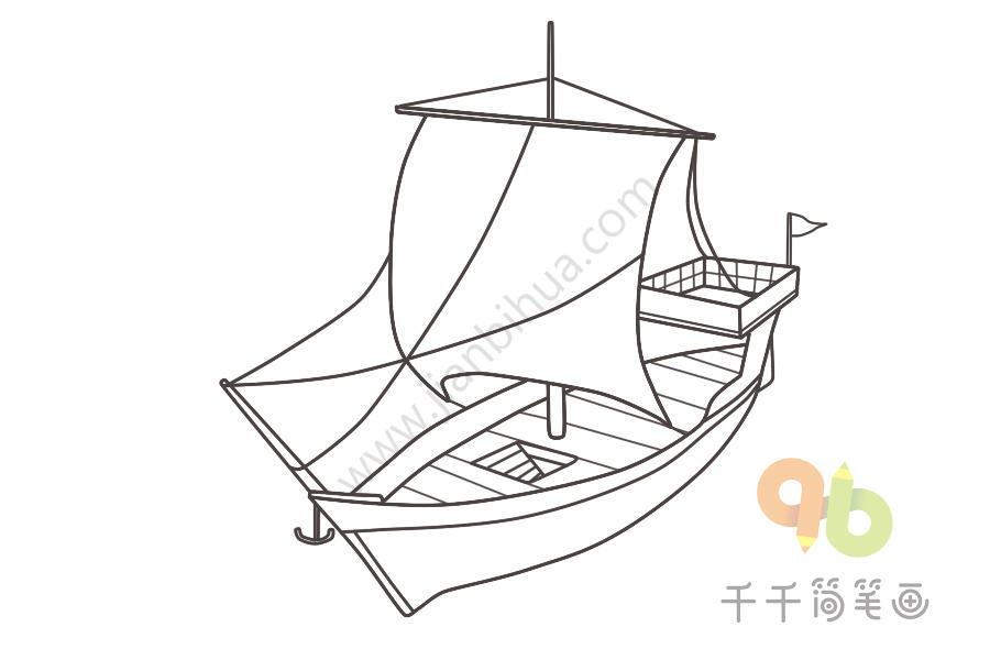 中世纪步骤简帆船笔画图商比亚迪图片