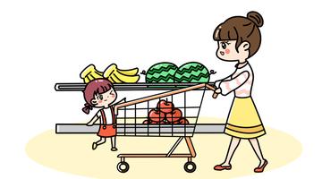 妈妈和女儿一起逛超市场景简笔画