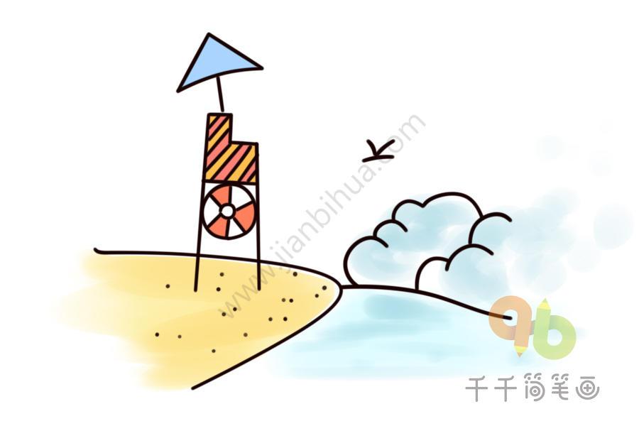 海边沙滩简笔画_海边沙滩简笔画_建筑山水