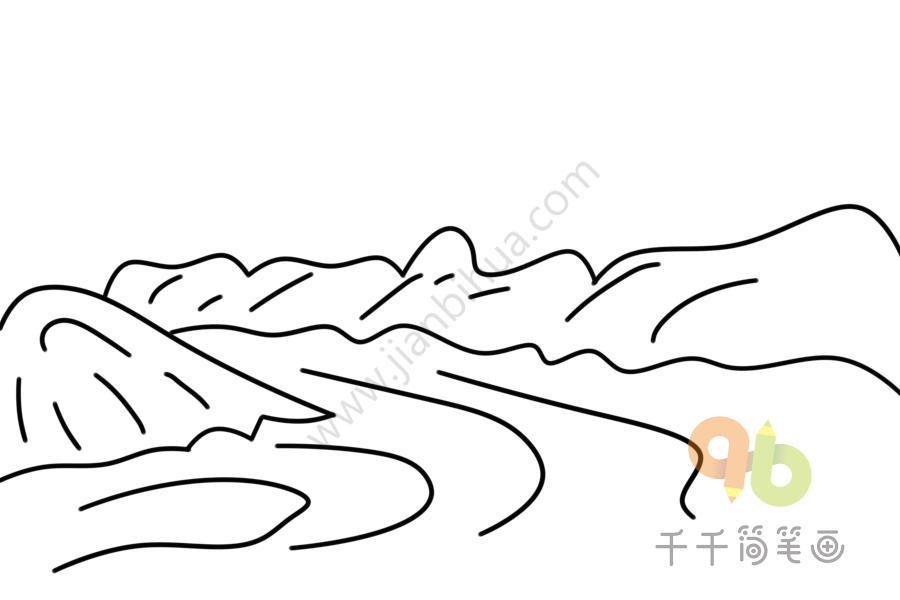 河流简笔画步骤图
