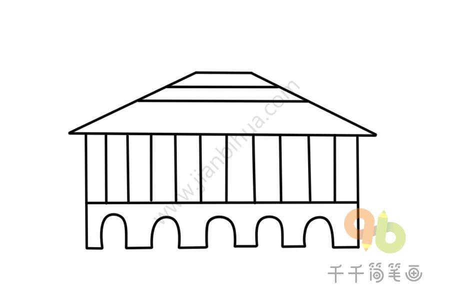 规模宏阔的寺庙简笔画