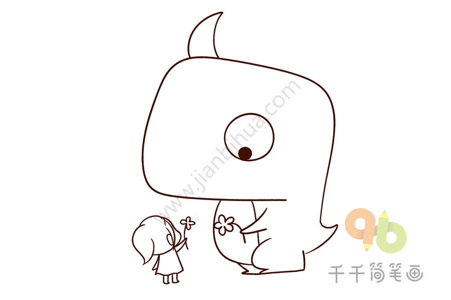 秋游我与动物交朋友简笔画_线稿素材 我和小动物交朋友简笔画_零基础学画