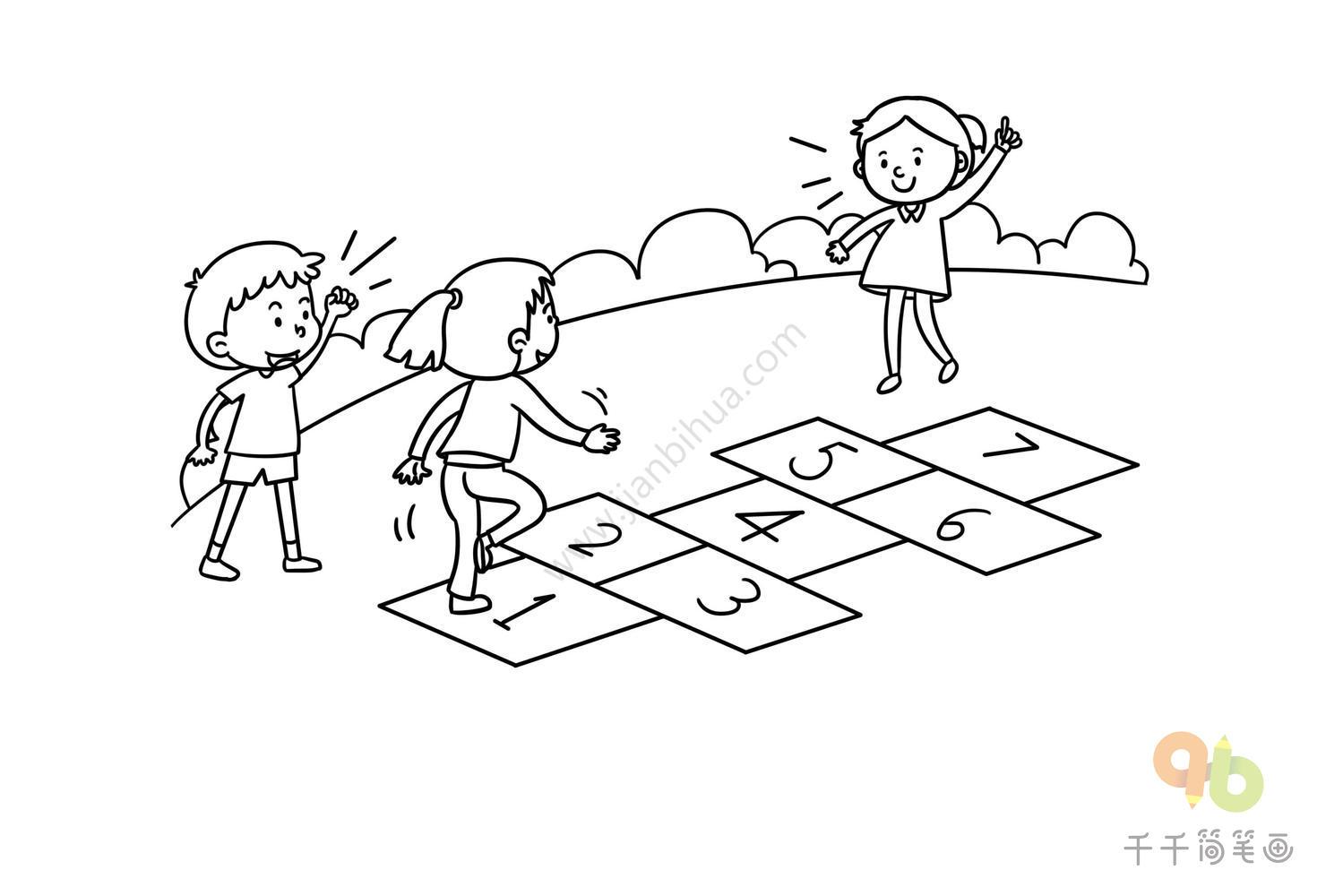 阳光下成长,我的幸福童年 孩童成长主题简笔画