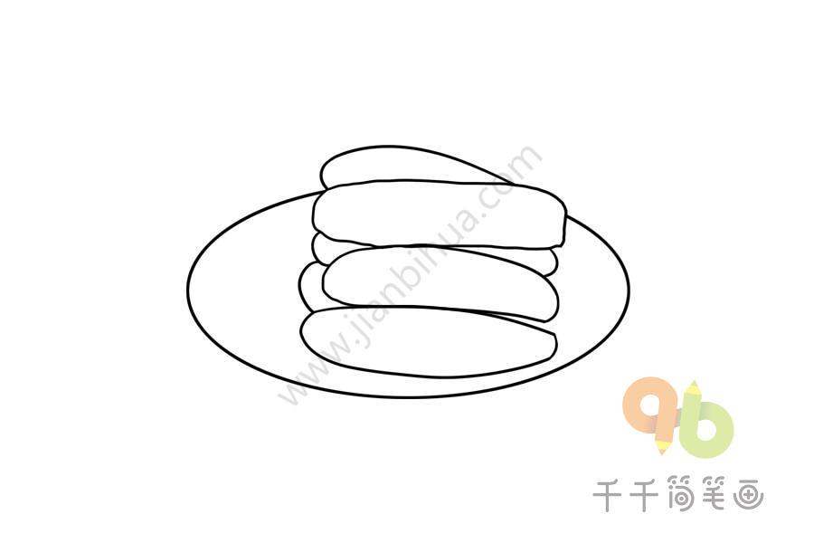 山东美食 签子馒头简笔画步骤图