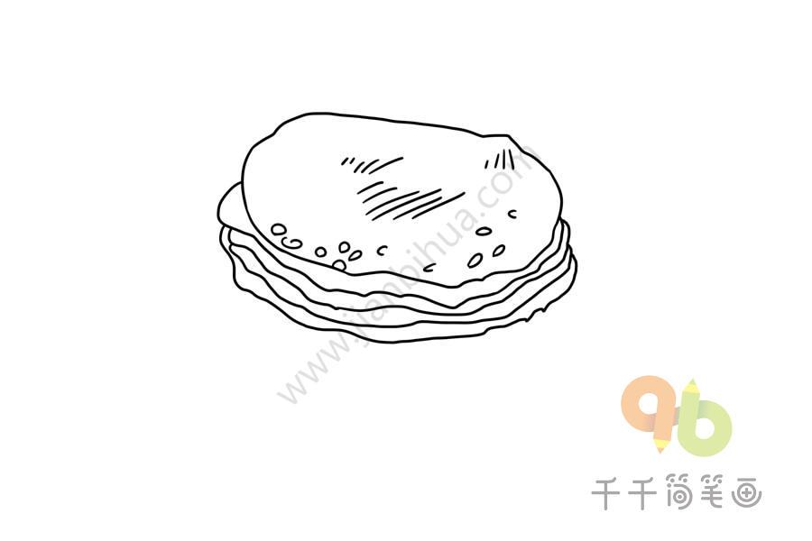 山东美食 周村烧饼简笔画