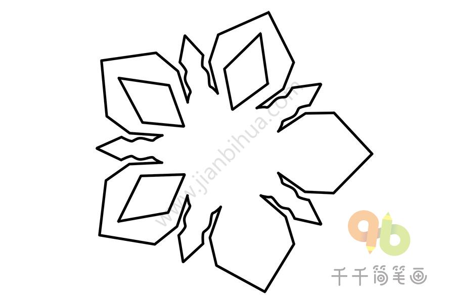 五边形花朵窗花简笔画
