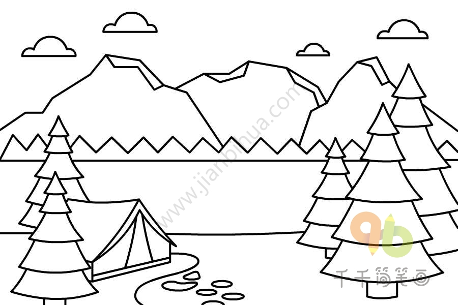 雪山风景简笔画