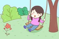 秋千上看书的女孩_春天在草地上荡秋千的小女孩简笔画_情景故事简笔画