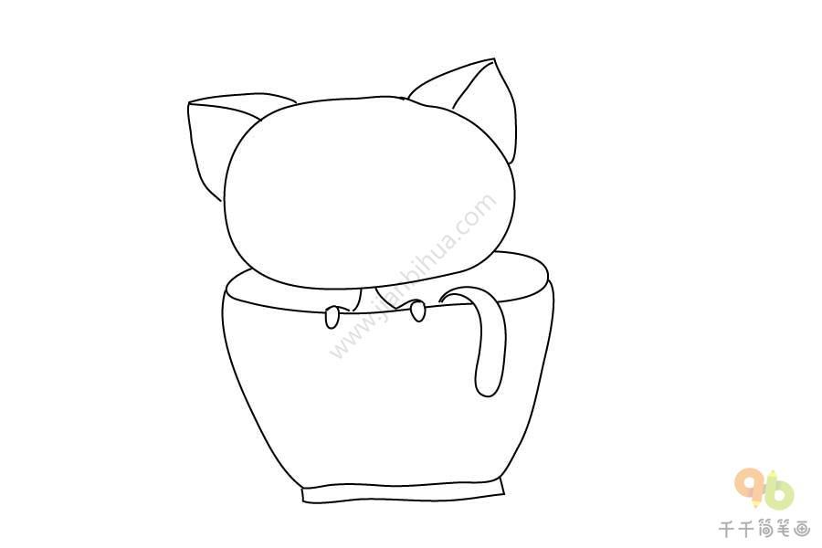杯子里的小猫简笔画步骤图