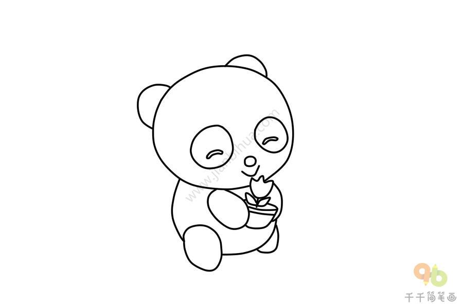 拿花的熊猫简笔画