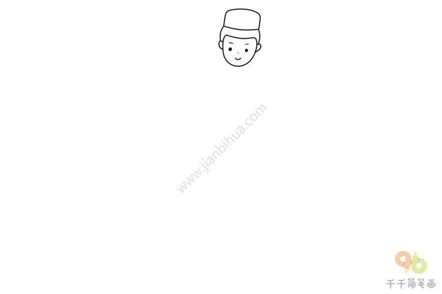 少数民族小人简笔画_民族人物 维吾尔族男孩简笔画步骤图_男孩简笔画