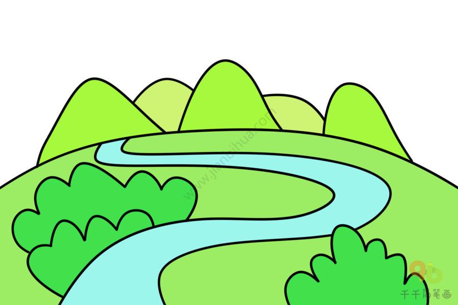 舒缓的河流简笔画