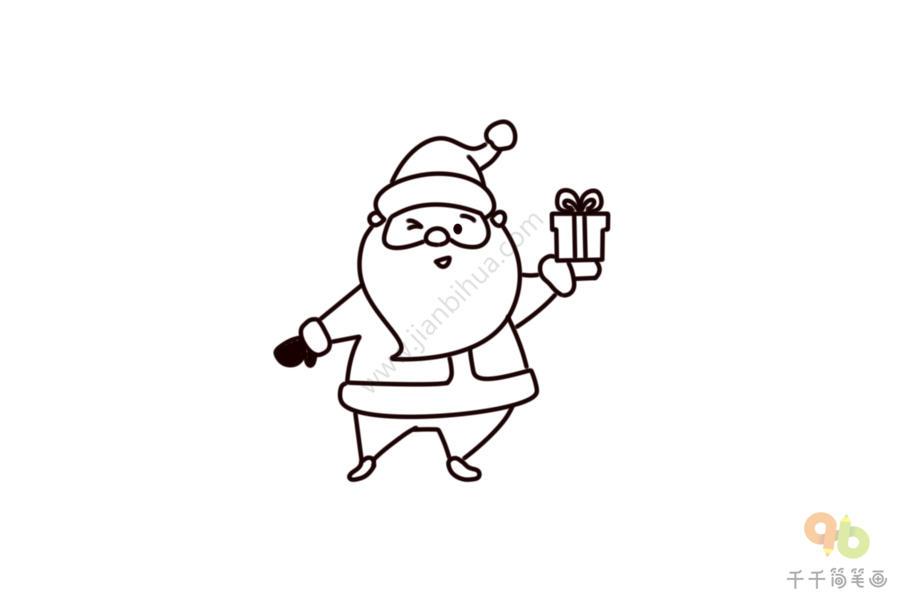 送你圣诞礼物 圣诞老人简笔画