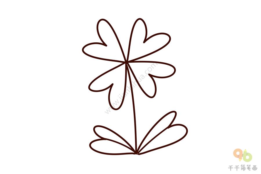 线稿素材 姹紫嫣红的花朵简笔画