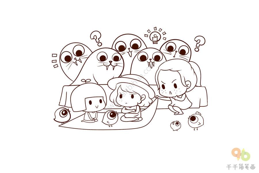 秋游我与动物交朋友简笔画_线稿素材 我和小动物交朋友简笔画_零基础学画简笔画