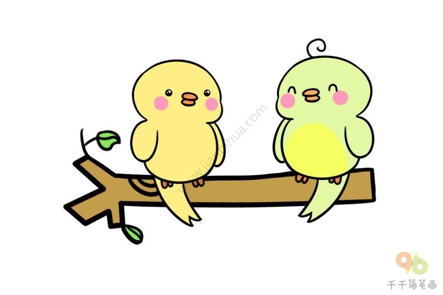 两只小鸟儿歌简笔画