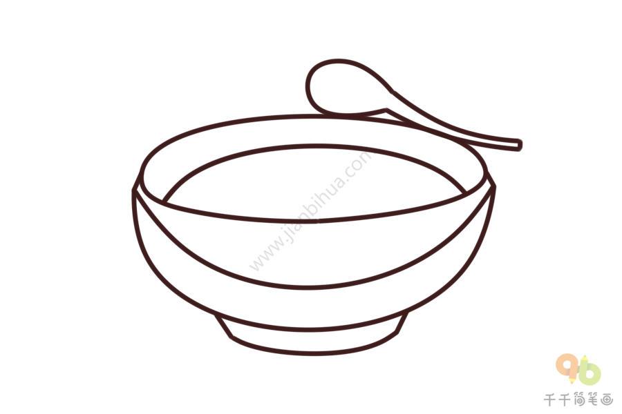 一碗汤简笔画画法