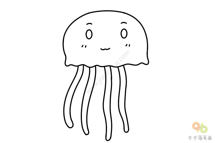 Q版水母简笔画步骤图图解