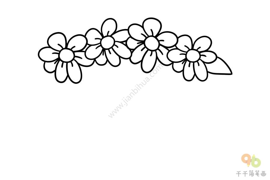 漂亮的花朵发箍简笔画,发箍,又称头箍,发卡,多为女孩子做的.