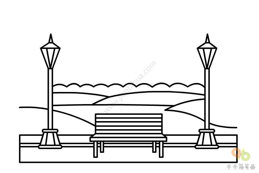 现代风公园简笔画
