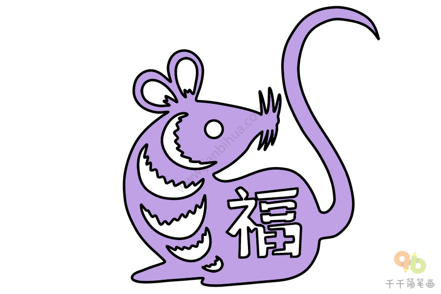 鼠年大吉窗花简笔画   五边形花朵窗花简笔画   鼠年窗花简笔画   老鼠窗花简笔画   春节窗花简笔画   花朵形状窗花简笔画