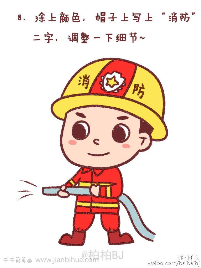 超极飞侠_消防员简笔画_职业人物 - 千千简笔画