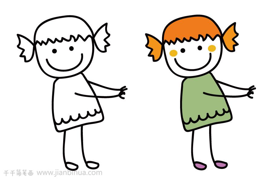 金色头发的小女孩简笔画   酒红色头发的小女孩简笔画   蓝色上衣的小男孩简笔画   单纯的世界 小朋友简笔画,儿童的世界是纯真的,一起玩游戏,一起上学,快动手去画画吧!