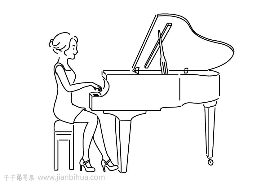 简笔钢琴画_弹钢琴的优雅女士简笔画_职业人物简笔画