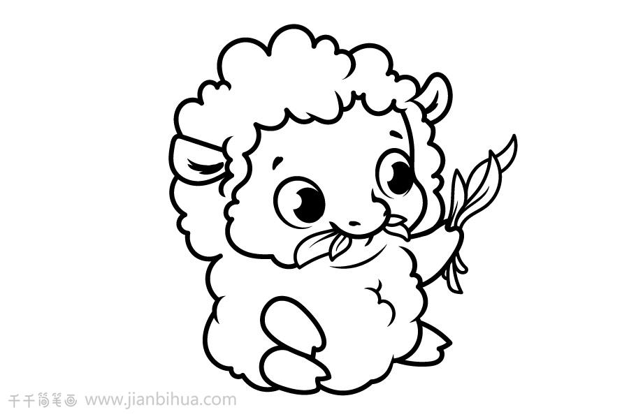 小羊吃青草简笔画图片