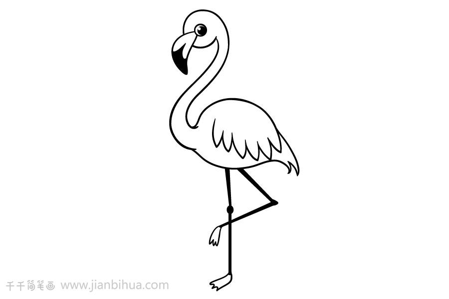 粉红火烈鸟简笔画怎么画