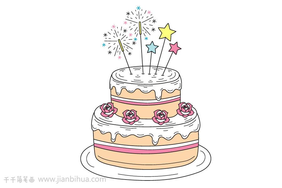 创意盘子画_怎么画生日蛋糕简笔画图片_蛋糕简笔画