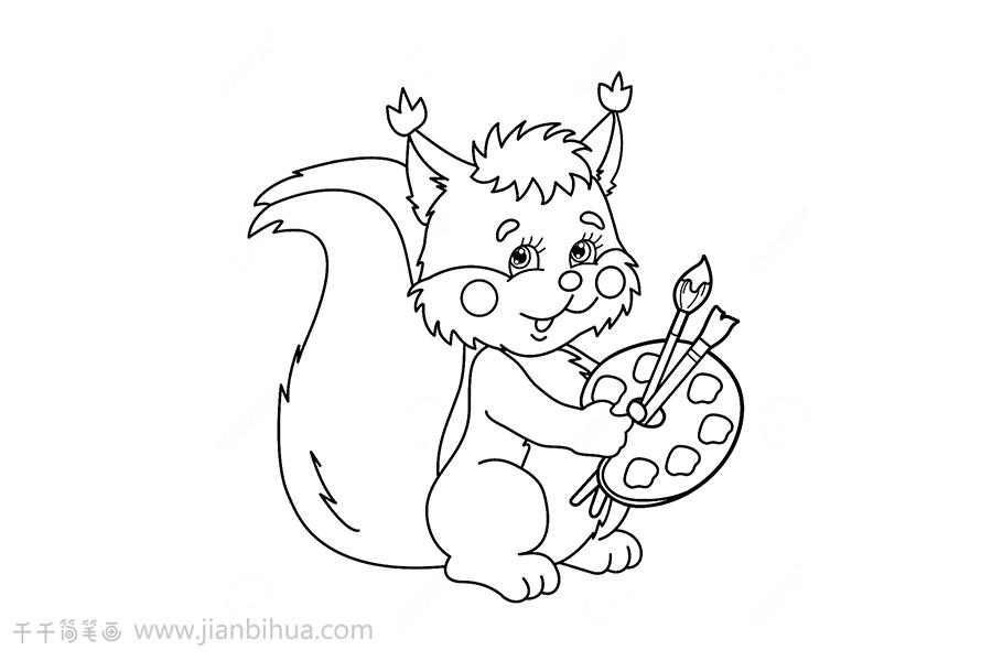 怎么画松鼠简笔画