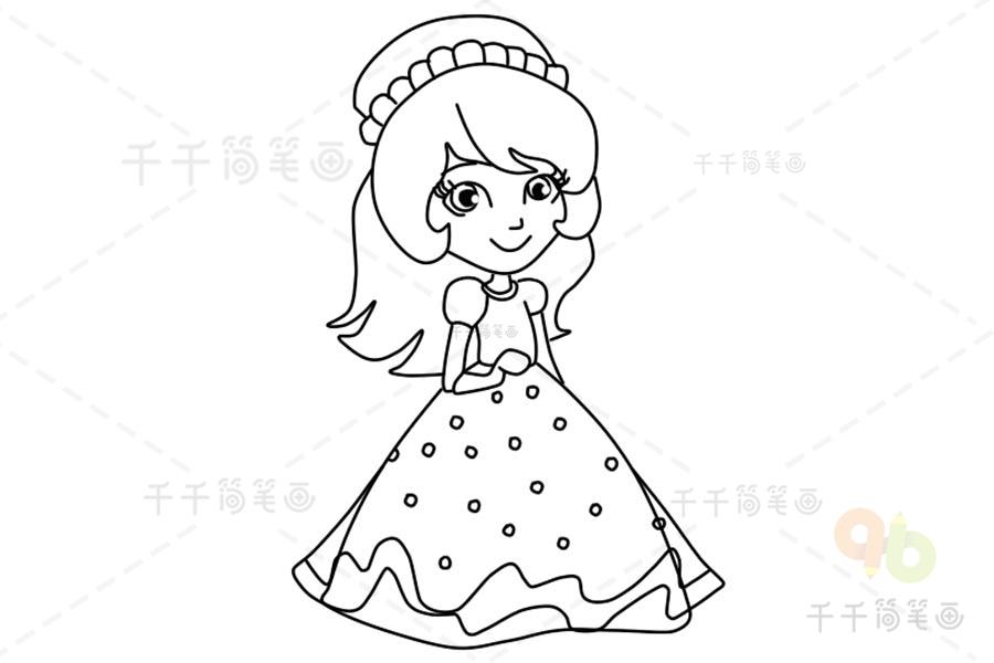q版人物女孩简笔画_公主简笔涂色画模板 可打印涂色 适合8-10岁的小朋友学习_人物 ...