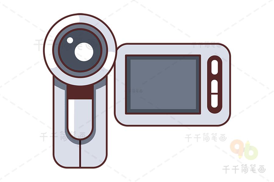 摄像机简笔画用儿童简笔画勾连起区高清摄像机校合作