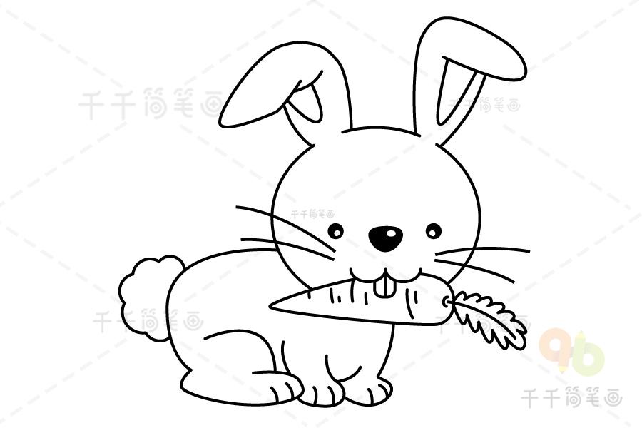 兔子简笔什么颜色好看_兔子涂色画图片涂完色后真可爱_兔子着色画简笔画